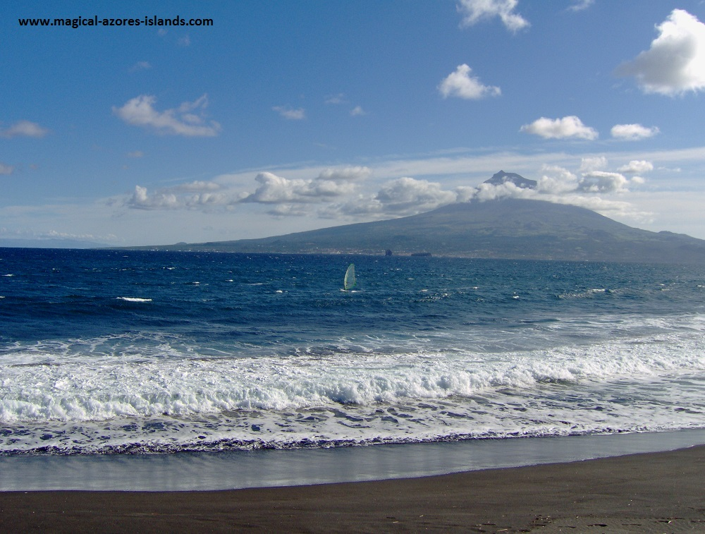 Azores Photos - a view of Pico from Faial. Love the windsurfer zipping along in the Atlantic Ocean