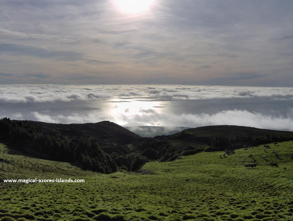 Above the clouds near Lagoa do Fogo Azores